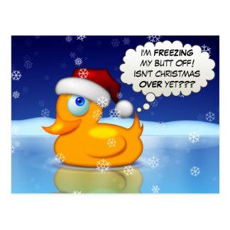 Freezing Santa Duck Postcard