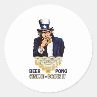 Fregadero él bebida él Abe Lincoln Pegatina Redonda