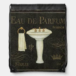 Fregadero y toalla del vintage mochilas