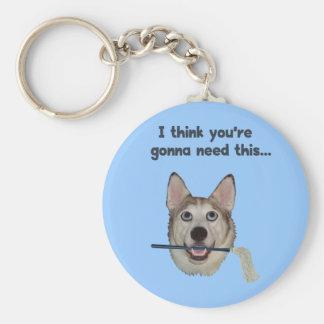 Fregona de la necesidad del humor del perro llavero redondo tipo pin