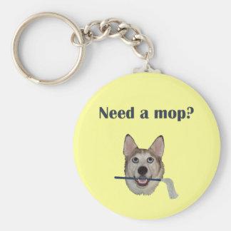 Fregona de la necesidad del humor del pis del perr llavero redondo tipo pin