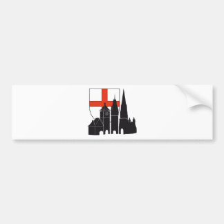 Freiburg silhouette with coats of arms bumper sticker