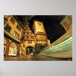 Freiburger Swabian gate at night Poster