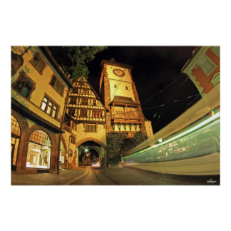 Freiburger Swabian gate at night Poster
