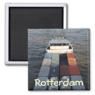 Freight ship on the Meuse, Rotterdam 2 Inch Square Magnet