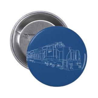 Freight Train Blueprint: Railroad: 2 Inch Round Button
