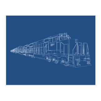 Freight Train Blueprint: Railroad: Postcard
