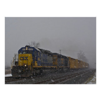 Freight Train In the Snow Poster