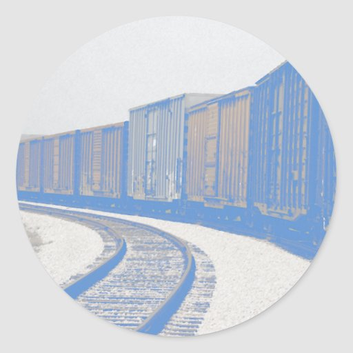 Freight Train on a Curve Classic Round Sticker