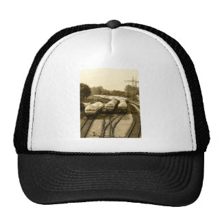Freight train on holding track hat