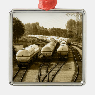Freight train on holding track metal ornament