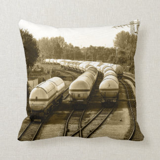 Freight train on holding track pillow