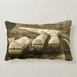 Freight train on holding track throw pillow