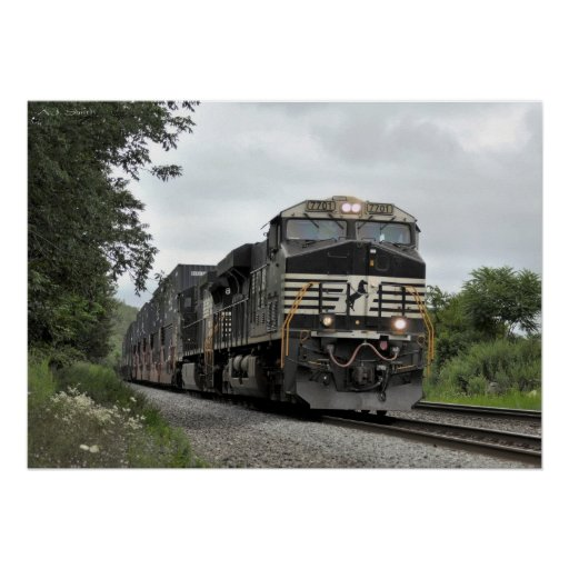 Freight Train on the Move Poster