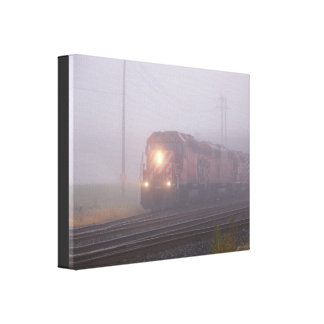 Freight Train Running in Morning Fog Canvas Print