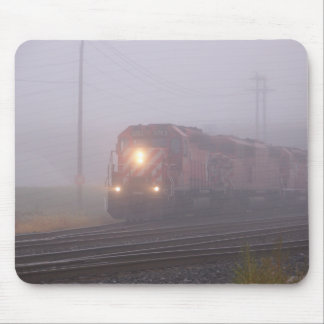 Freight Train Running in Morning Fog Mouse Pad