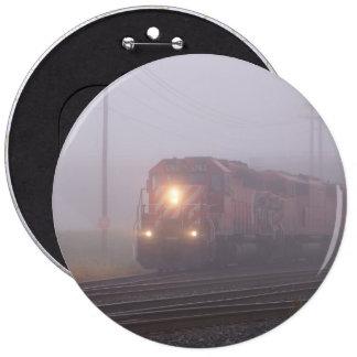 Freight Train Running in Morning Fog Pinback Button