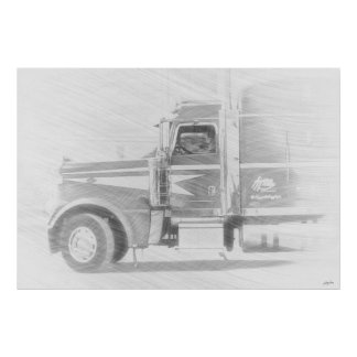 Freight Truck & Driver Art Illustration Poster