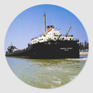 Freighter Canadian Century leaving the Soo Classic Round Sticker