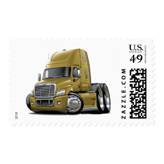 Freightliner Cascadia Gold Truck Postage Stamp
