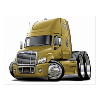 Freightliner Cascadia Gold Truck Postcard