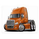 Freightliner Cascadia Orange Truck Postcard