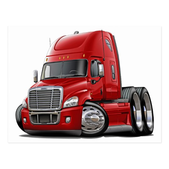 Freightliner Cascadia Red Truck Postcard