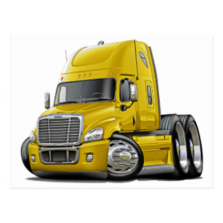 Freightliner Cascadia Yellow Truck Postcard