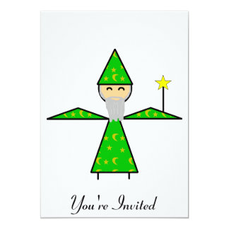 Freindly Green Stick Wizard 5x7 Paper Invitation Card