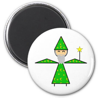 Freindly Green Stick Wizard Magnet