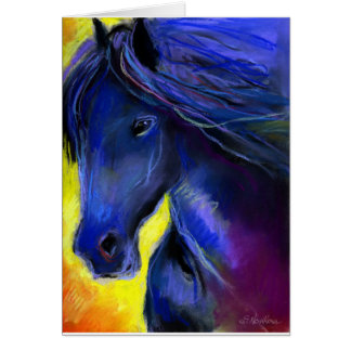 Freisian horse painting greeting card