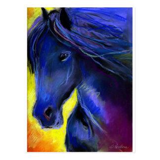 Freisian horse painting postcard