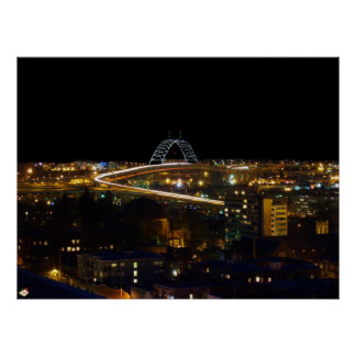 Fremont Bridge at Night Portland Oregon Poster