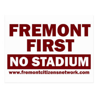 Fremont First No Stadium - Red Postcard