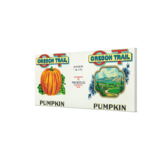 Fremont, NebraskaTrail Pumpkin Can Label Stretched Canvas Print