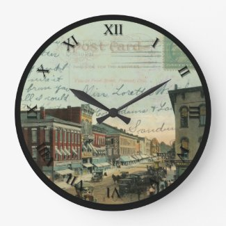 Fremont Ohio Post Card Clock - Front St 1912