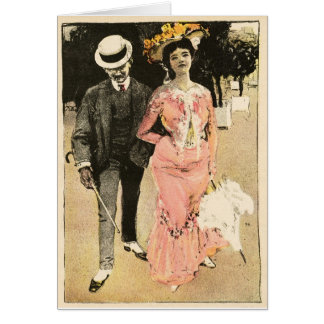 """FRENCH 1902!!! """"ROMANCE BLOSSOMS IN HATS 'n SPATS"""" Card"""