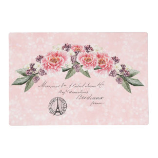 French Address Roses Paris Postmark Pink Placemat