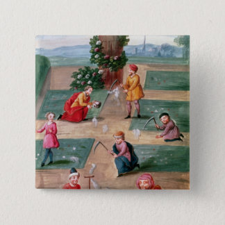 French alchemists seeking material gold pinback button