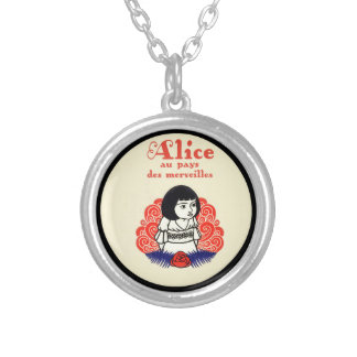 French Alice Book Cover Silver Plated Necklace