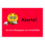 French Allergy Info card - Peanut Business Card Template