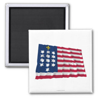 French Alliance Waving Flag 2 Inch Square Magnet