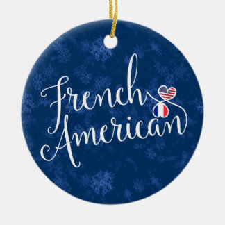 French American Christmas Tree Ornament, France Ceramic Ornament