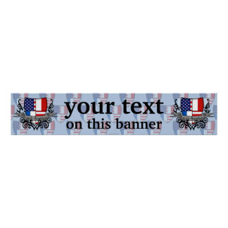 French-American Shield Flag Banner Poster