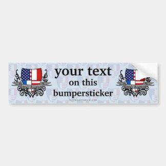 French-American Shield Flag Car Bumper Sticker