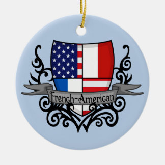 French-American Shield Flag Double-Sided Ceramic Round Christmas Ornament