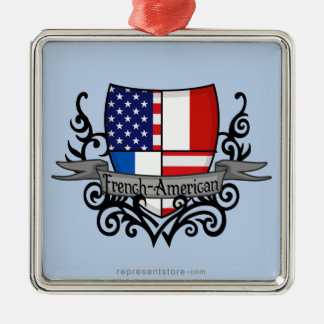 French-American Shield Flag Metal Ornament