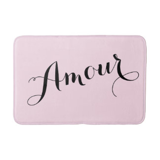 French Amour Love Pink and Black Chic Parisian Bath Mat