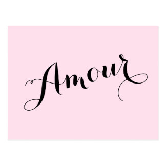French Amour Love Pink and Black Chic Parisian Postcard