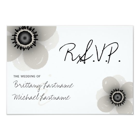 French Anemone Wedding RSVP Card